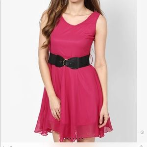 Pink Colored Solid Shift Dress